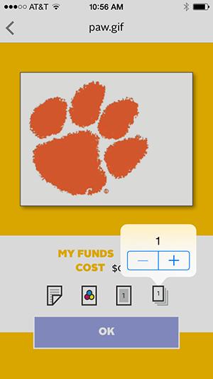 Pharos Print App - changing copy count