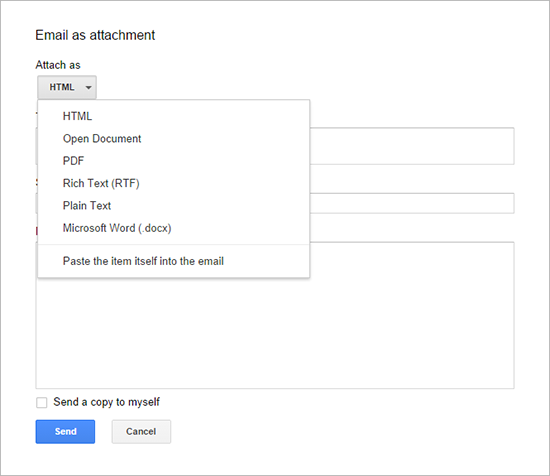 screenshot of Google Docs Email as Attachment dialog with non-HTML formats available