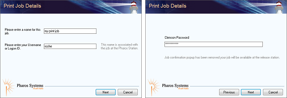 PawPrints pop-ups for job name, username, password, and University role
