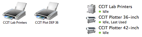 Screenshot of printer icons on a Windows 7 and Mac OS 10.9 computer