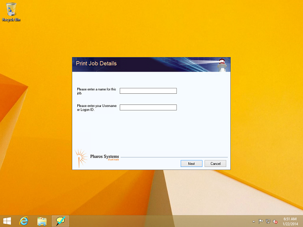 Screenshow showing the Paw Prints pop-up dialog on the Desktop